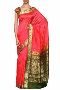 Pink daagina silk peshwai paithani saree