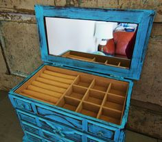 Jewelry Box Turquoise Blue Distressed Wooden by turquoiserollerset, $58.00