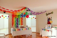 Style Meets Bliss's Birthday / Rainbow Party - Photo Gallery at Catch My Party Rainbow Party Decorations, Rainbow Parties, Diy Birthday Decorations, Rainbow Theme, Streamer Decorations, Party Streamers, Halloween Decorations, Trolls Birthday Party, Boy Birthday Parties