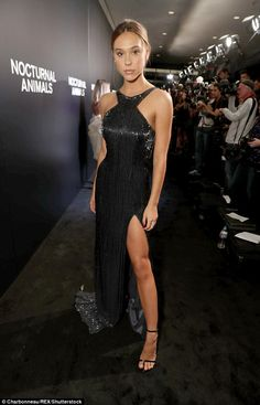 Beautiful: Alexis Ren stunned in a flowing black gown...