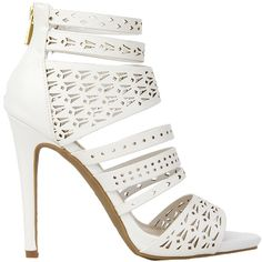 Strappy Laser Cut-Out White Sandal Heels ($20) ❤ liked on Polyvore featuring shoes, sandals, heels, white, white strappy sandals, strap heel sandals, open toe sandals, white platform shoes and platform heel sandals