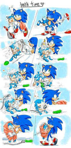 Omg! I can totally see Sonic doing this with his son! (I think his younger self's probably too old to make this kind of scene... but this is so stinking cute I'll give it a pass!) - Bath Time by Drawloverlala on DeviantArt