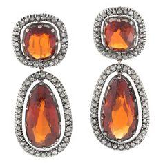 Antique Hessonite Garnet Diamond Ear Pendants | From a unique collection of vintage dangle earrings at https://www.1stdibs.com/jewelry/earrings/dangle-earrings/