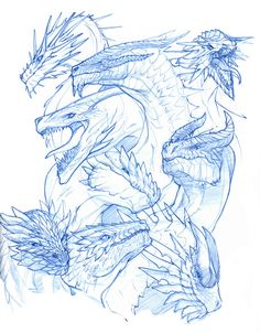 Sketchbook page of Dragons by Mudora