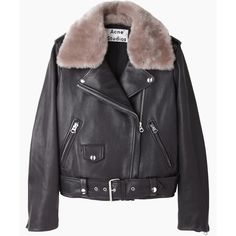 Acne Studios Mape Shearling Leather Jacket (€1.775) ❤ liked on Polyvore featuring outerwear, jackets, coats & jackets, coats, leather jacket, shearling leather jacket, motorcycle jacket, black biker jacket and shearling moto jacket