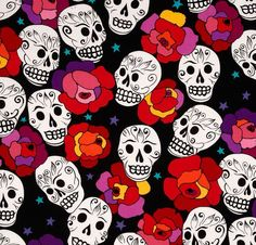 Day of the dead fabric material