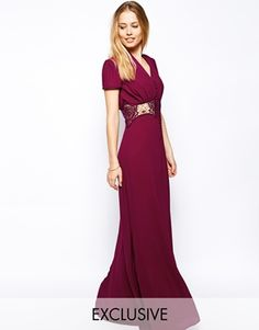 Jarlo Kelly Maxi Dress With Cap Sleeve and Lace Insert