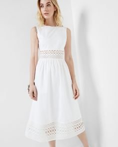 10bce615e Cut work midi dress - White