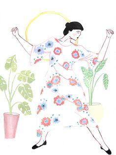 Women Who Draw: ilustradora - Alisha Davidson Moon Dance, Art Bag, Full Moon, Vintage Patterns, Lilac, Draw, Illustration, Prints, Anime
