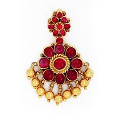 GRT | Collections | Antique and Ethnique | Pendants | Traditional South Indian Ruby Padakam