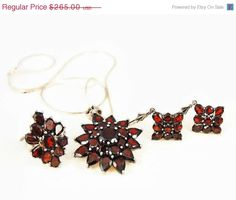 GARNET Set Ring Pendant Earrings Over 24 cts by PremierAntiquesNY