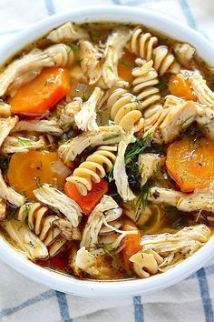Flu Fighter Chicken Noodle Soup Got a cold? Then you need to try this Flu Fighter Chicken Noodle Soup! It's packed with healthy ingredients and it's absolutely delicious! I Love Food, Good Food, Yummy Food, Best Food When Sick, Tasty, Awesome Food, Yummy Recipes, Cooking Recipes, Healthy Recipes