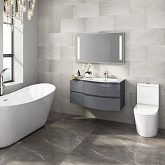 Designer Gloss Grey Curved Vanity Unit Wall Hung Right Hand Basin Sink – Eco Sweet Home Grey Vanity Unit, Vanity Units, Basin Sink Bathroom, Bathroom Essentials, Floor Space, Bathroom Furniture, Corner Bathtub, Contemporary Style, Sweet Home