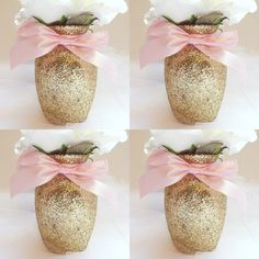 4 Gold Glitter Glass Vases with Soft Pink Ribbon