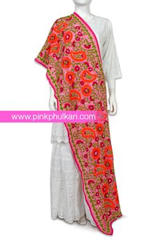 PinkPhulkari California Phulkari Hand Embroidered Phulkari Dupatta. To shop Visit our website www.pinkphulkari.com Images copyrights@PinkPhulkari California All rights reserved. Kimono Top, California, Website, Shopping, Tops, Women, Fashion, Moda, Women's