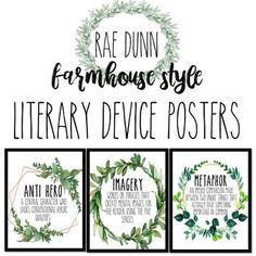 Rae Dunn Literary Device Posters – Farmhouse Wreath, Rustic – Color and B&W – Top Trend – Decor – Life Style Classroom Posters, Classroom Decor, School Office Organization, Small Salon, Growth Mindset Quotes, Art Deco Movement, Farmhouse Style, Farmhouse Decor, White Farmhouse