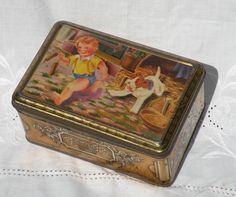 decorative tin box french vintage box tin storage by LaBonneVie72