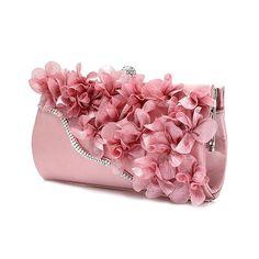 699db08ff6ce Hot Fashion Lady Satin Clutch Bag Flower Evening Party Wedding Purse Chain  Shoulder Handbag