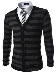(VRC06-BLACK) Slim Fit 5 Button Corduroy Knitted Cardigan