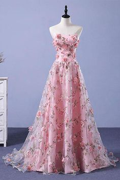 adb5298d260 Pink A-line Sweetheart Strapless Sweep Train Floral Print Long Lace Prom  Dresses with flowers PH524