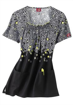 Dickies Good Times print scrub top. - Scrubs and Beyond #black #white #floral #print #top #scrubs #uniform #medical #nurse