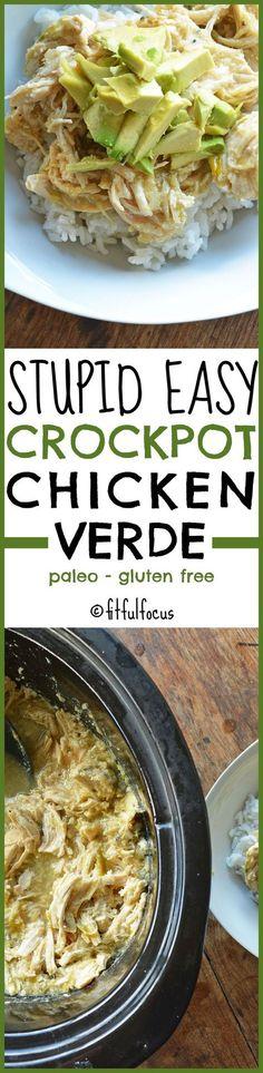Stupid Easy Crockpot Chicken Verde | The Recipe Redux | Paleo | Gluten Free | Slow Cooker Recipes | Chicken | Salsa | Healthy Recipes