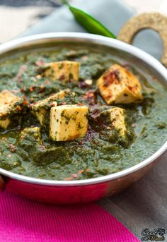 PALAK TOFU (3 to 4 servings)  ~~~~~  TOFU: extra-firm tofu, oil, black pepper, paprika, red chili flakes, salt; SPINACH CURRY: baby spinach, tomatoes, garlic cloves, fresh ginger, garam masala, red chili powder, cumin powder, milk, oil, salt, sugar, lemon juice