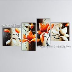 tetraptych contemporary wall art floral painting tulip flower on