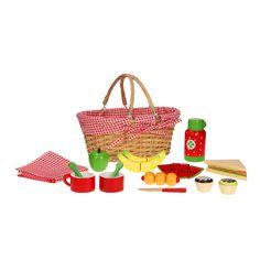 De gevlochten picknickmand komt met verschillende houten accessoires. Inhoud: Mes, Bekers, lepels, sandwich, thermoskan en verschillende fruitstukken. De fruitstukken zitten aan elkaar met klittenband dus deze zijn ook los te halen.