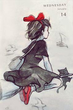 By Qing Han (Qinni) Studio ghibli,kiki's delivery service,hayao miyazaki Totoro, Kiki Delivery, Kiki's Delivery Service, Studio Ghibli Art, Studio Ghibli Movies, Hayao Miyazaki, Manga Art, Anime Art, Qinni