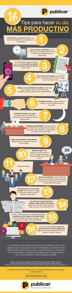 Hola: Una infografía con 16 consejos para ser más productivo. Vía Un saludo