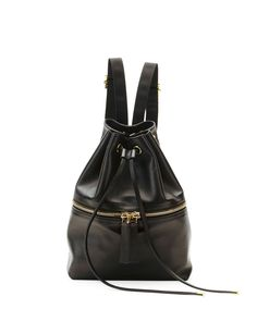 Mini Leather Drawstring Backpack, Dark Gray - Marni