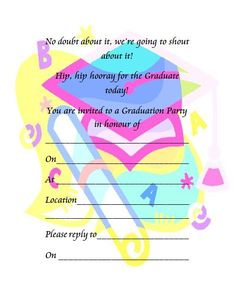 Free printable graduation party invitations party invitations this colorful graduation party invitation is a free image for you to print out check out our free printable graduation invitation cards today and get to filmwisefo Images