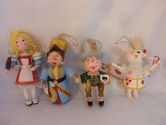 Alice Wonderland Set 4 Easter Christmas Ornaments Wood Kurt Adler 1984 GUC V tg Vintage Costume Jewelry, Vintage Costumes, Disney Divas, Vintage Cups, Antique Stores, World Traveler, Fleas, Alice In Wonderland, Fairy Tales