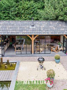 Backyard Pavilion, Backyard Landscaping, Sauna House, Glass House Design, Garage Guest House, House Extension Design, Weekend House, Backyard Paradise, House Windows