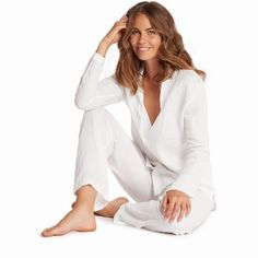 d99e0759c3 This crisp white pyjama set is made from super soft 100% linen. The relaxed