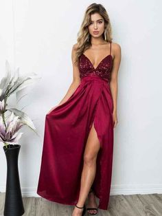2e92f97e6 Sexy Backless Red Sequin Side Slit Long Evening Prom Dresses