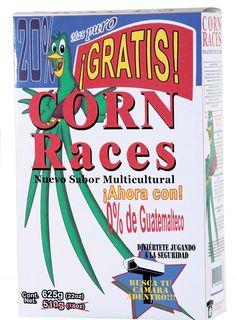 """Christian Cojulún // Guatemala // De la serie """"Un mundo puro y absurdo"""": Producto: Corn Races, // Impresión digital/cartón"""