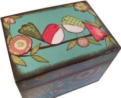 Receta Decoupaged caja madera caja de buho por GiftsAndTalents