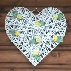 Large White Wicker Heart  Wall Hanging  Wreath by illabella