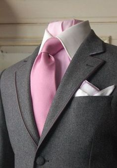 Grey Suit, White Collared Pink Business Shirt, Plain Pink Tie & Contrasting White w Pink Edged Pocket Square