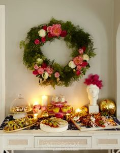 Home For The Holidays With HGTV's Emily Henderson tablescape and pretty wreath
