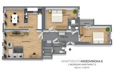 Floorplan of a two bedroom apartment No. 12 in Krizovnicka Apartments, Prague
