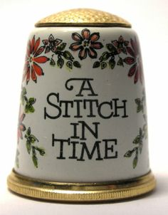 Hard to Find Halcyon Days Enamel Thimble A Stitch in Time with Flowers C 1980s | eBay /  Mar 12, 2014 / US $145.00