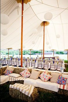 pillows on hay bales perfect for a barn wedding rustic wedding tent Marquee Wedding, Tent Wedding, Farm Wedding, Wedding Rustic, Wedding Lounge, Wedding Receptions, Straw Bale Seating Wedding, Chic Wedding, Summer Wedding