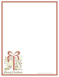 Tan border with a picture of a gift in the bottom left corner Free Christmas Printables, Free Printables, Free Christmas Borders, Border Templates, Clip Art, Scrapbook, Messages, Pictures, Gifts