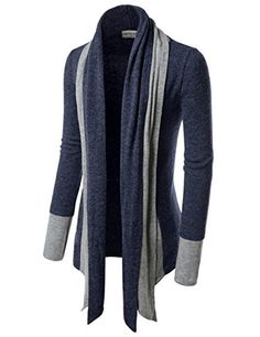 39c43ddb9c3e TheLees (NKCD94) Open Front Double Shawl Collar Cardigan Sweaters CHARCOAL  US L(Tag size L) at Amazon Men s Clothing store