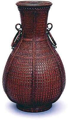 Bamboo vase by National Living Treasure of Japan, Shounsai SHONO (1904~1974)
