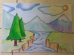 beginners drawing landscape easy drawings simple landscapes draw sketch sketches pastel oil pastels pencil a3 paintings scenery paper landscaping mountain