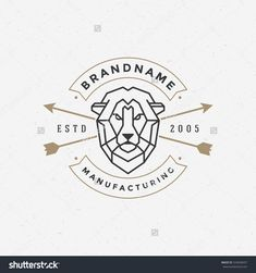 Vintage Lion Face Line Art Logotype Emblem Symbol. Can Be Used For Labels, Badges, Stickers, Logos Vector Illustration. - 324028457 : Shutterstock